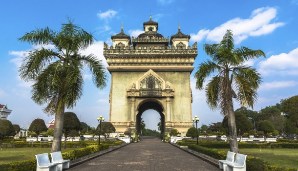 Patuxai (Victory Gate) in Vientiane, Laos A local rendition of Paris' Arc de Triomphe with elaborate Buddhist embellishment.