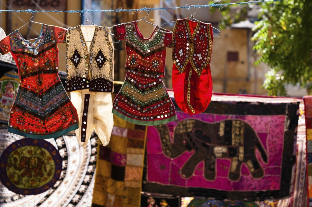 Colorful indian textile on the street bazaar, Jaipur, India