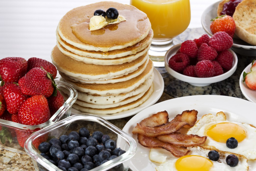 Different types of breakfast food.