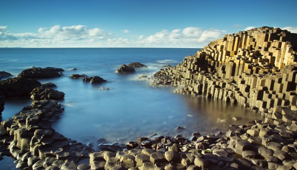 Beautiful sunny afternoon at the famous Giant's Causeway on the Antrim Coast of Northern Ireland