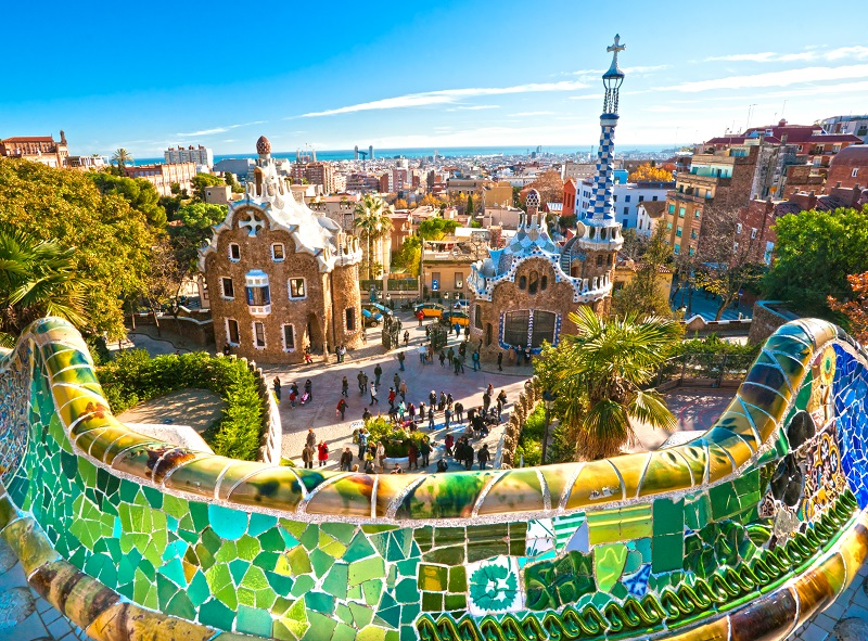 Park Guell in Barcelona, Spain.
