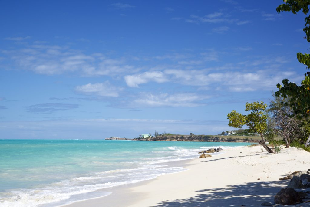 Fort Beach in Antigua with blue sky.
