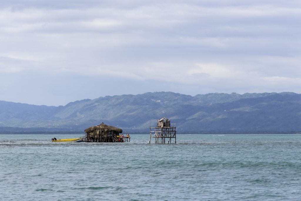 A view of the Pelican Bar off the south coast of Jamaica with the mountains in the distance.