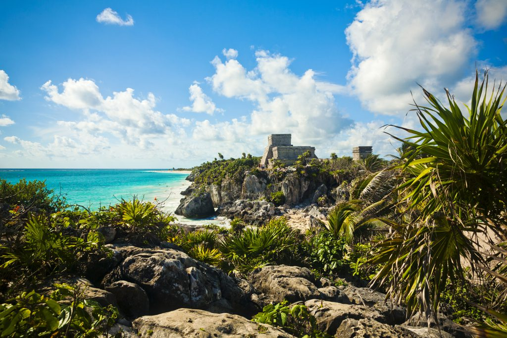 The Mayan Ruins Of Tulum Overlooking The Ocean