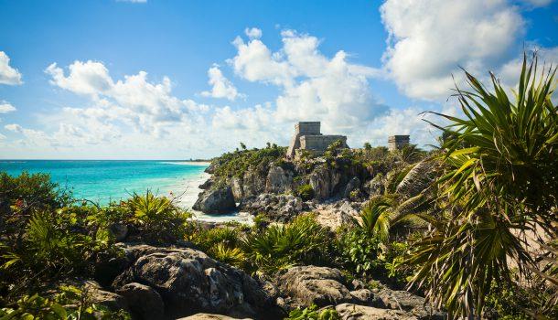 The Mayan Ruins Of Tulum Overlooking The Ocean