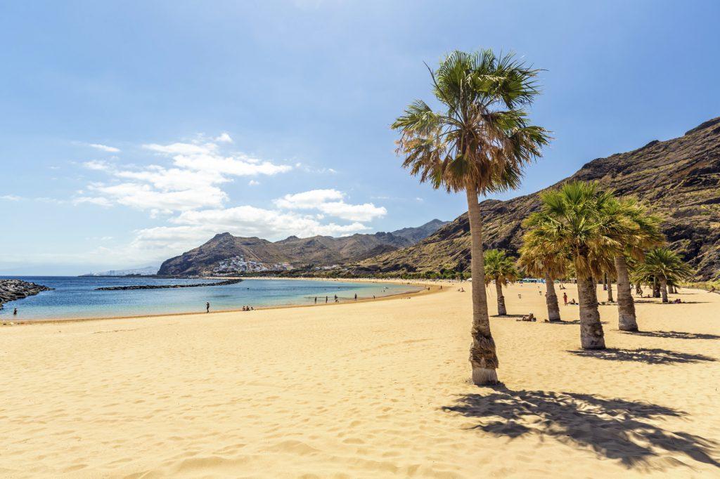 Playa de Las Teresitas in Tenerife / Canary Islands and Santa Cruz in the background.