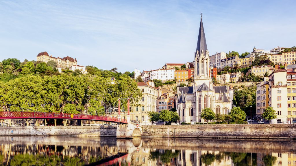 Panoramic view of Lyon with Saone river, France