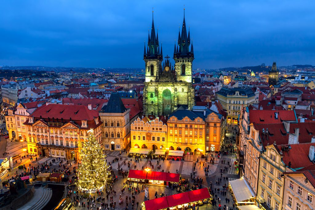 Prague, Czech Republic - December 10, 2015: View from above on traditional market at Old Town Square illuminated and decorated for Christmas holidays in Prague - popular tourist destination, capital of Czech Republic and fifth most visited European city.