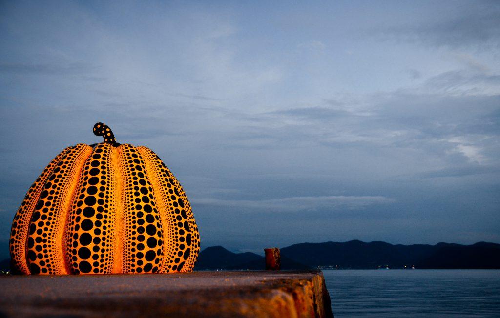 Yayoi Kusama's Yellow Pumpkin in Naoshima art island, Japan.
